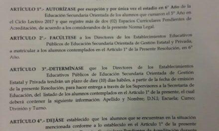 Descargá en PDF la Resolución N° 520 que Autoriza por única vez a inscribir en sexto año a alumnos que tengan más de 2 previas en las Secundarias Orientadas