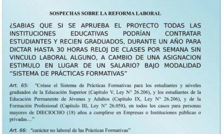 SADOP: La Reforma Laboral que impulsa el Gobierno Nacional habilitaría a los Colegios a designar a docentes noveles por un año en prácticas no rentadas