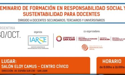 <h6>Audio: Mauro Quiroga</h6> San Juan será sede del Seminario de Formación en Responsabilidad Social y Sustentabilidad