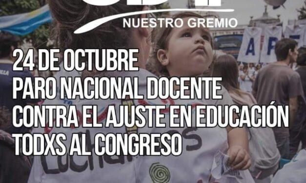"""<h6>24 de octubre """"Jornada Nacional de Protesta Docente""""</h6> UDAP adhiere sin asistencia a las escuelas"""