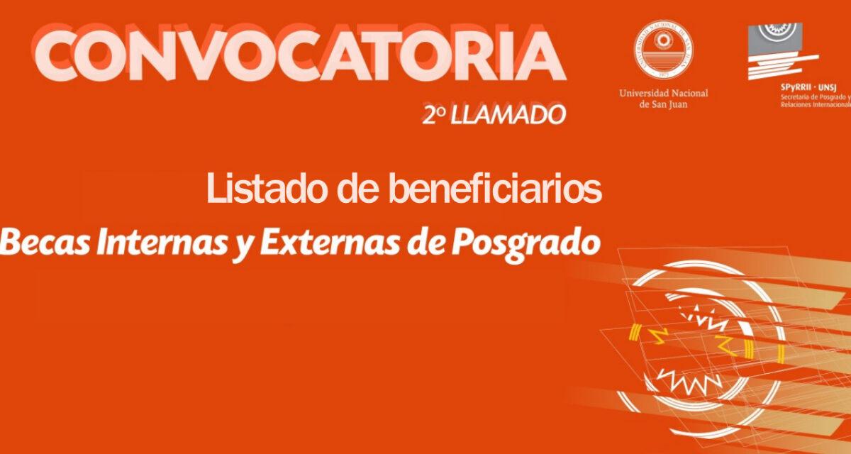 Presentan el listado de beneficiarios de las Becas Internas y Externas de Posgrado de la UNSJ