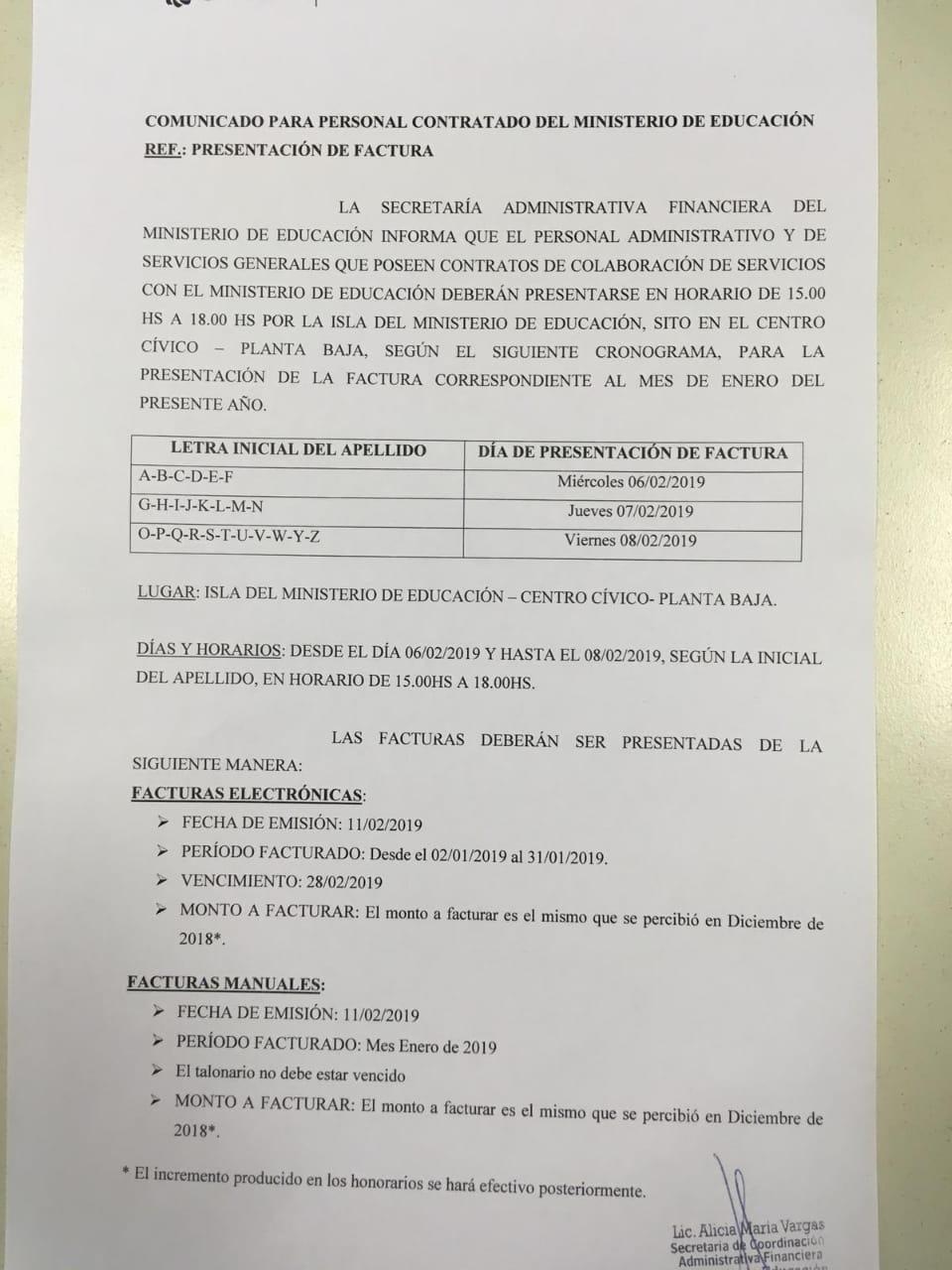 El Ministerio de Educación informa fechas de facturación y pago para el personal contratado administrativo y de Servicios