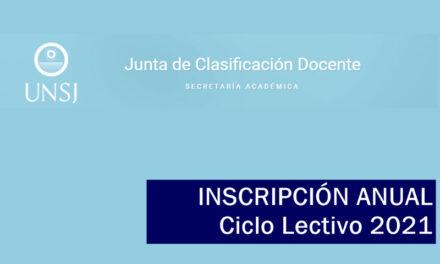 UNSJ: En junio inicia la Inscripción Anual para el Ciclo Lectivo 2021