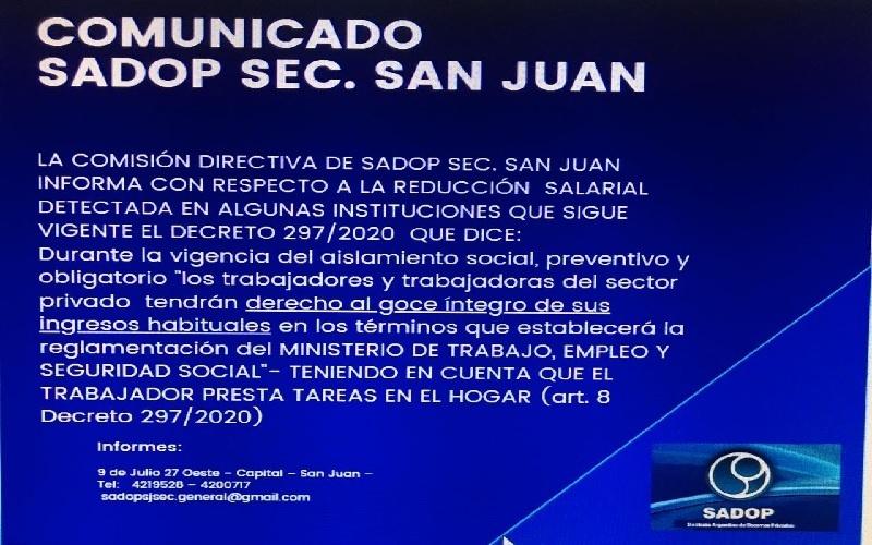 """<h3>SADOP:<span class=""""pt_splitter pt_splitter-1""""></h3>  """"Los docentes de los Colegios Privados deben cobrar el total de sus haberes""""</span>"""