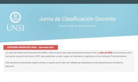 UNSJ: Se prorroga a julio la Inscripción Anual para el Ciclo Lectivo 2021