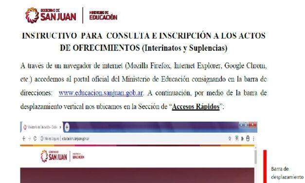 Llamados on line: Instructivo para postularse a los interinatos y suplencias