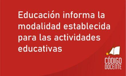 Educación informa la modalidad establecida para las actividades educativas