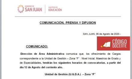 """Horarios de convocatoria correspondientes a Nivel Inicial, Primaria y Especialidades de la Unidad de Gestión Zona """"F"""""""