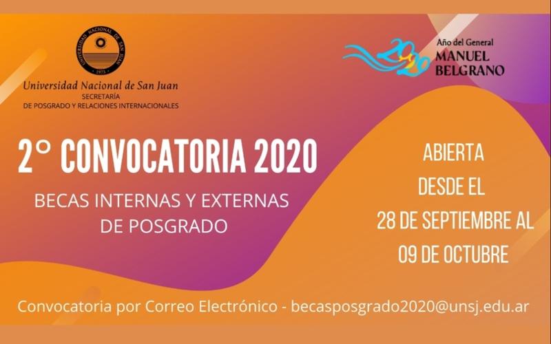 SPRRII: 2° Convocatoria para Becas Internas y Externas de Posgrado de la UNSJ