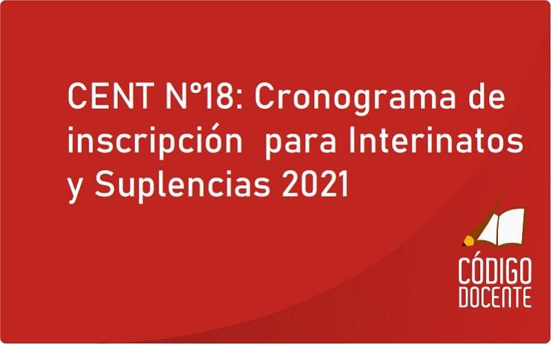CENT N°18: Cronograma de inscripción  para Interinatos y Suplencias 2021