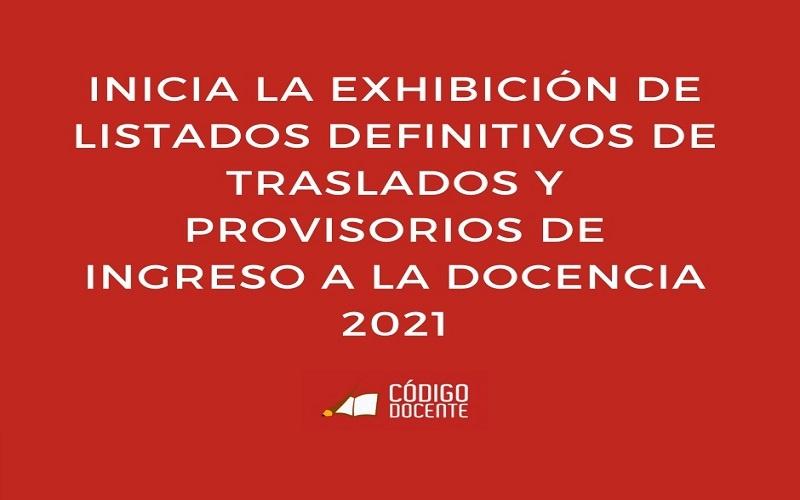 Inicia la exhibición de Listados Definitivos de Traslados y Provisorios de Ingreso a la docencia 2021