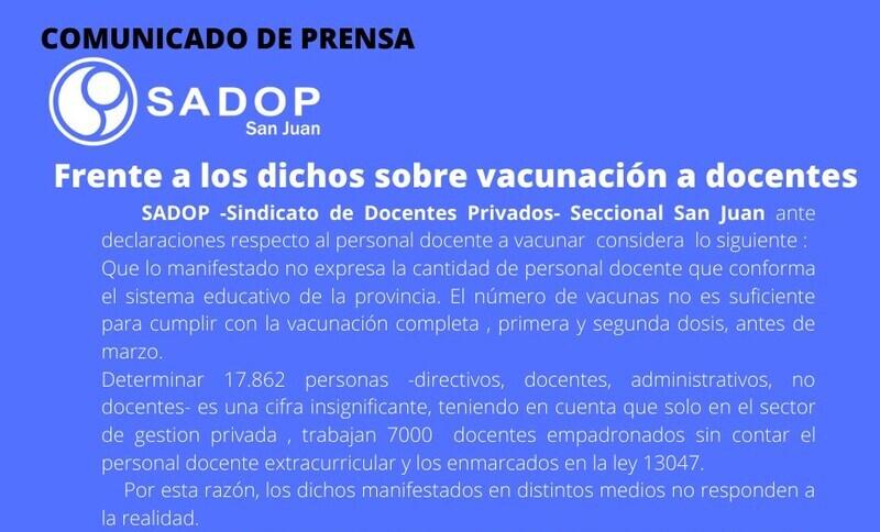 Comunicado de prensa de SADOP frente a declaraciones de vacunación a docentes