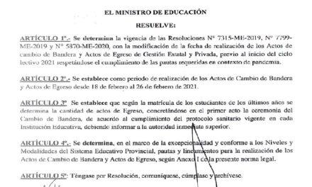 Autorizan los Actos de Cambio de Bandera y de Egreso ajustados a protocolos de salud y educación