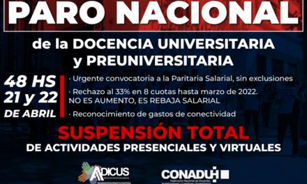 <h6>Comunicado</h6><h1>Paro: continúan los reclamos de la Docencia Universitaria y Preuniversitaria</h1>
