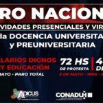 Paro nacional de docentes universitarios y asamblea virtual de ADICUS